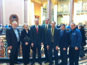 Left to right: Wayne Hansen, CI3; Debbie Williams and Scot Storjohann, BTC ESOP Services; Al Ryerson and Greg Weber, BCC Advisers; Terry McGonegle, Wright Tree Service; Don Brown, Van Meter Inc.