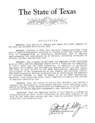 State of Texas Resolution to Carl Warren