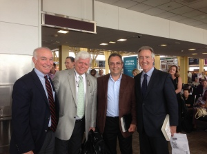 "From left to right: Congressman Joe Courtney (D-CT), Congressman John B. Larson (D-CT), Steve Sabourin, GM of Carris Reels in Enfield, CT, and Congressman Richard E. Neal (D-MA). In an email from Steve Sabourin of Carris Reels:  ""This was a great chance meeting at the airport after visiting Congressman Neal the day before.  Congressman Neal said he loved the way we do things.  I asked him what he meant.  Basically, he loved that employee owners were making visits.  I am guessing he sees this as better than a top exec or a lobbyist."""