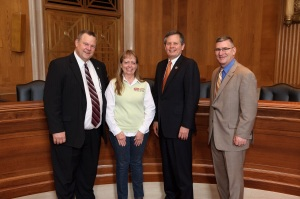Northwest Chapter President, Judy Lippel, Sletten, Inc., with Montana members of Congress on Capitol Hill:  Senator Jon Tester (D-MT), Congressman Steve Daines (R-MT) and Senator John E. Walsh (D-MT).