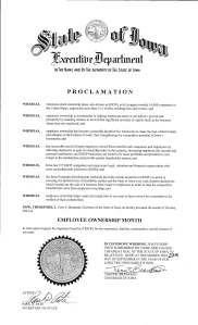 2015 Iowa October ESOP Month Proclamtion