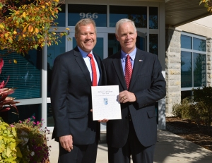 Pictured left to right:  Brian Baker, President & CEO, Sentry Equipment Corporation and Wisconsin Senator Ron Johnson.